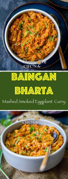 A curry made from roasted eggplant, onion, tomatoes and Indian spices; Baingan Bharta is a MUST-HAVE Indian curry! Indian Eggplant Recipes, Indian Food Recipes, Eggplant Curry Indian, Brinjal Recipes Indian, Eggplant Dishes, Clean Eating Recipes, Clean Eating Snacks, Vegetarian Recipes Dinner, Healthy Recipes