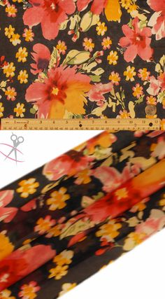 This Floral Hi Multi Chiffon Print carries very large and small six petaled flowers popping throughout the design. Hi Multi Chiffon Print is a lightweight, stylish and free flowing fabric. It is a great material for layered dresses, blouses, scarves, wraps, DIY hairpieces, even chair decorations and much more!