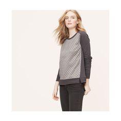 LOFT Floral Jacquard Sweatshirt ($45) ❤ liked on Polyvore featuring tops, hoodies, sweatshirts, phantom grey, crewneck sweatshirt, crew-neck sweatshirts, crew neck sweat shirt, grey crewneck sweatshirt and sweatshirts hoodies