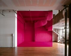 French photographer Georges Rousse paints on buildings to create optical illusions, then photographs them.