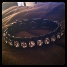 Swarovski bracelet Black leather band with clear crystals Swarovski Jewelry Bracelets