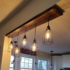 Industrial Lighting Rustic Kitchen Island Ceiling Light AFRICAN WALNUT chandelier edison light bulbs modern Artist lamp rustic raw wood The Eagles' Nest rustic barn wood chandelier image 5