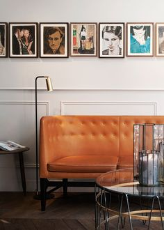 hotel bar A different way of displaying artwork, aligned along the top edge with different sizes hanging down Contemporary Home Furniture, Contemporary Interior Design, Cute Furniture, Welcome To My House, Mid Century Modern Design, Stores, Decoration, Sweet Home, House Design