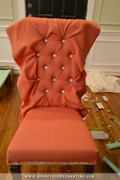Best 12 DIY-Upholstered-Wood-Dining-Chairs-before-after-makeover – SkillOfKing. Dining Chair Makeover, Chair Redo, Diy Chair, Furniture Makeover, Redo Chairs, Office Chair Makeover, Reupholster Furniture, Furniture Upholstery, Furniture Nyc