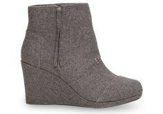 Grey Wool Women's Desert Wedge Highs