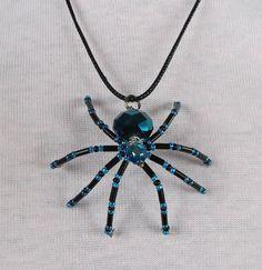 Halloween - Beaded Spider Pendant Necklace.