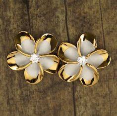 New Hawaiian Jewelry 925 Sterling Silver Earrings Gold Trim Plumeria CZ SE53245 in Jewelry & Watches, Fashion Jewelry, Earrings | eBay