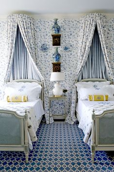Blue and white guest room . . .