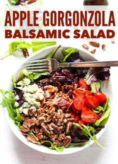 Apple Bacon Gorgonzola Salad with Balsamic Dressing - Layers of Happiness