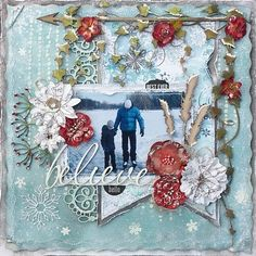 Hello Winter - Scrapbook.com - Love the snow crusted vines and flowers.