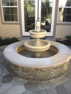 After: After applying NewLook this fountain is colorful, attractive and a real show piece that the owners can be proud of. (pics courtesy of RestoraCrete) Concrete Dye, Stained Concrete, Concrete Coatings, Before And After Pictures, Fountain, Restoration, Outdoor Decor, Colorful, Home Decor