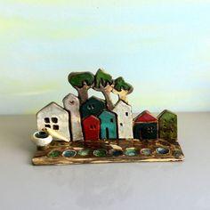 Ceramic Menorah with tiny houses  Hanukkah menorah  by ednapio