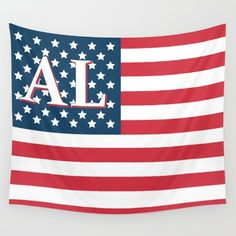 #Alabama #American Flag. Available in three distinct sizes, our Wall Tapestries are made of 100% lightweight polyester with hand-sewn finished edges. Featuring vivid colors and crisp lines, these highly unique and versatile tapestries are durable enough for both indoor and outdoor use. Machine washable for outdoor enthusiasts, with cold water on gentle cycle using mild detergent - tumble dry with low heat.