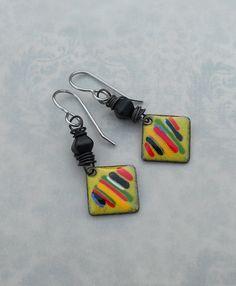 Lemon-Lime Enamel with Multi-colors//Artisan Earrings by Angela Gruenke of Contents Jewelry (28.00 USD) by ContentsJewelry - handmade - jewelry - jewellery - artisan ---