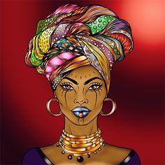 Recolor Black Girl Art, Black Women Art, Black Art, Art Girl, Art Deco Paintings, African Art Paintings, Bright Colors Art, African Colors, Afrique Art