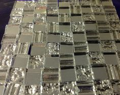 Textured Mirror Tile Mix - 100 Loose Tiles, each (or choose the 1 size) - Stained Glass Mosaic Supply. For mosaic or decorative use.