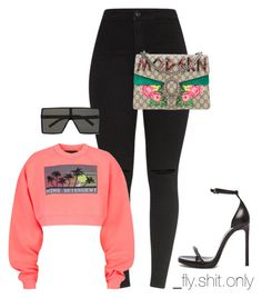A fashion look from May 2017 featuring print crop tops, high waisted stretch jeans and chain sandals. Browse and shop related looks. Cute Casual Outfits, Swag Outfits, Stylish Outfits, Fall Outfits, Dope Fashion, Girl Fashion, Fashion Outfits, Womens Fashion, Fashion Trends