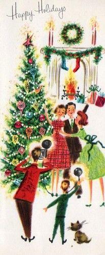 retro Christmas photo Tree, family, fireplace