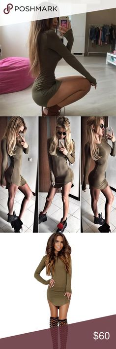 Army green curved hem bandage mini tshirt dress Army camo green asymmetrical bandage mini dress. Bodycon fit. Long sleeve. Kylie Jenner style dress. Brand new. Other colors available. Marked free people, LF, nasty gal, sabo skirt for visibility, but it's from a boutique. Fits true to size ✨ Sabo Skirt Dresses Mini
