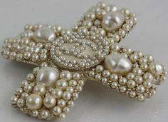 Chanel Faux Pearl Logo Cross Brooch
