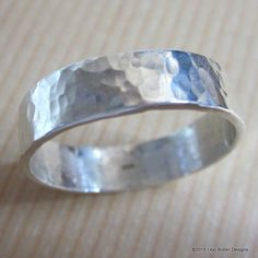 Custom Made Hammered Patterned Flat Band Ring For Him and Her
