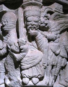 Monasterio+de+San+Juan+de+Duero+-+Capitel+románico Spain Romanesque Sculpture, Romanesque Art, Graven Images, Sculptures, Lion Sculpture, Carolingian, Ange Demon, Medieval Art, Green Man