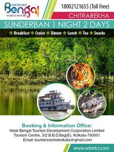 SUNDARBAN SAFARI MV CHITRAREKHA  1 NIGHT 2 DAYS  Tour itinerary:- Kolkata-By AC bus -Sonakhali- Sudhonnyokhali-Sajnekhali-Sajnekhali-Do Banki-Sonakhali-By Ac bus-Kolkata  Tour Dates:-Nov 11th,25th Dec 2nd,16th,21st,25th,27th,31st Jan 9th,26th,27th  Rates:- Rs. 11880/- Coupe (2 pax) Rs. 5280/- Cabin per pax (5 bedded) Rs.4730/- Cubicals per pax Rs.3740/- Lower deck per pax