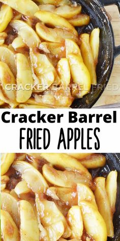 Cracker Barrel Fried Apples are the most delicious dessert ever! This easy southern recipe combines juicy apples with cinnamon, apple juice, nutmeg and a hint of sugar for the perfect copycat recipe. Fried Apples Recipe Easy, Apple Recipes Easy, Cooked Apples, Fruit Recipes, Cooking Recipes, Fried Fruit Pies Recipe, Fondue Recipes, Cracker Barrel Apples Recipe, Cracker Barrel Copycat Recipes