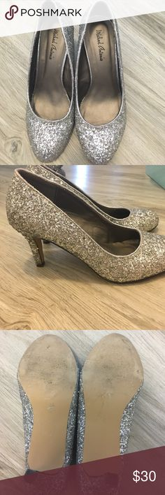 "Michael Antonio Lloyd Silver Glitter Heels Pretty and glittery silver heels about 3"". Wore once as a bridesmaid. In great condition! Michael Antonio Shoes Heels"