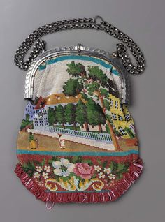 1830-1850, Europe - Bag - Cotton and beadwork