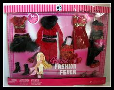 2007 Barbie Doll Clothing Fashion Fever 5 Outfits Gown Fir Jacket Holiday Xmas | eBay
