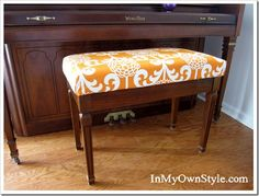 I have recovered chair cushions using this method, and I love the idea of using it to cover a piano bench!