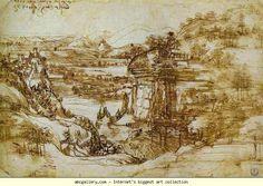 Leonardo da Vinci. Arno Landscape. 1473. Pen and ink over a partially erased pencil sketch. Uffizi Gallery, Florence, Italy.