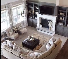 Home design ideas living room furniture layout window 53 ideas Living Room With Fireplace, New Living Room, My New Room, Home And Living, Family Room With Sectional, Living Room With Sectional, Living Room Ideas, Living Room Decor Elegant, Tv Above Fireplace