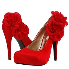 lipstick red pumps w/flowers