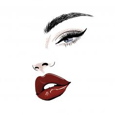 Sensual face with red juicy lips and eye art , Makeup Illustration, Illustration Mode, Art Illustrations, Eyelash Logo, Makeup Artist Logo, Lashes Logo, Art Drawings Sketches, Eye Drawings, Eye Art
