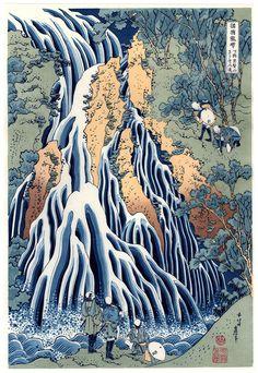 Lotto 00469 N.1 xilografia fukkoku  Katsushika Hokusai  CASCATA KIRIFURI SUL MONTE KUROKAMI  Anno: 2018 Condizioni: ottime Dimensioni: 26 x 38 cm