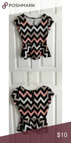 Chevron Peplum Style Top Charlotte Russe Peplum Style Top in Pink/Tan/White/Black Chevron Charlotte Russe Tops Blouses