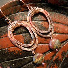 Copper drop earrings with red creek jasper by coldfeetjewelry