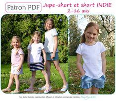 Patron de couture, patron Petits D'om, patron jupe-short, patron short, couture, DIY, patron, jupe-short, short