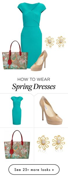 """""""Spring Flow"""" by rachelhughes-1 on Polyvore featuring mode, Roland Mouret, Gucci, Jimmy Choo, Tiffany & Co., women's clothing, women, female, woman en misses"""