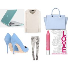"""BLUE and GREY and PINK"" by jelena-peranic on Polyvore"