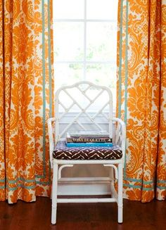 re-doing our playroom in orange and blue and I totally love these curtains- seen on cococozy