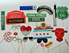 Chicago Photo Booth Props The windy City Route 66 Chicago Bulls I love Chicago Glasses Heart I love , Pizza O,hare airport iconic chicago