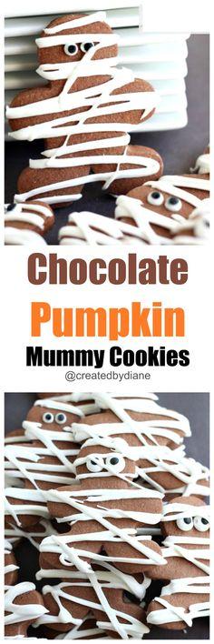 chocolate pumpkin mummy cookies @createdbydiane