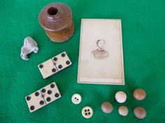 Civil War Camp Items, Inkwell, Buttons, CDV, Marbles, Bullet, Etc.