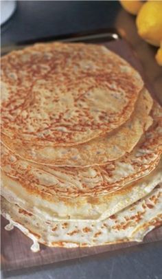 My favourite pancake recipe from Nigella:    INGREDIENTS  30g unsalted butter, melted, plus more for frying  150g plain flour  325ml milk  1 egg