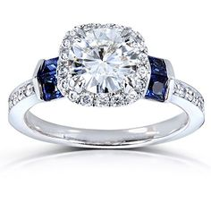 Forever One (D-F) Moissanite Diamond & Blue Sapphire Engagement Ring 1 CTW White Gold * Engagement Rings And Wedding Bands Do It Yourself Fashion, Blue Sapphire Rings, Sapphire Diamond, Diamond Engagement Rings, Halo Engagement, Diamond Rings, Solitaire Diamond, Wedding Jewelry, Wedding Rings