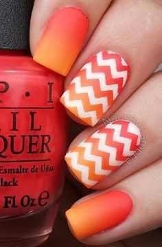 orange nail art for summer 2016