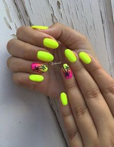 77 Bright Neon Nails to Try This Summer – neon nail art Neon Yellow Nails, Yellow Nails Design, Yellow Nail Art, Bright Summer Nails, Summer Acrylic Nails, Neon Nails, Cute Acrylic Nails, Cute Nails, Pretty Nails